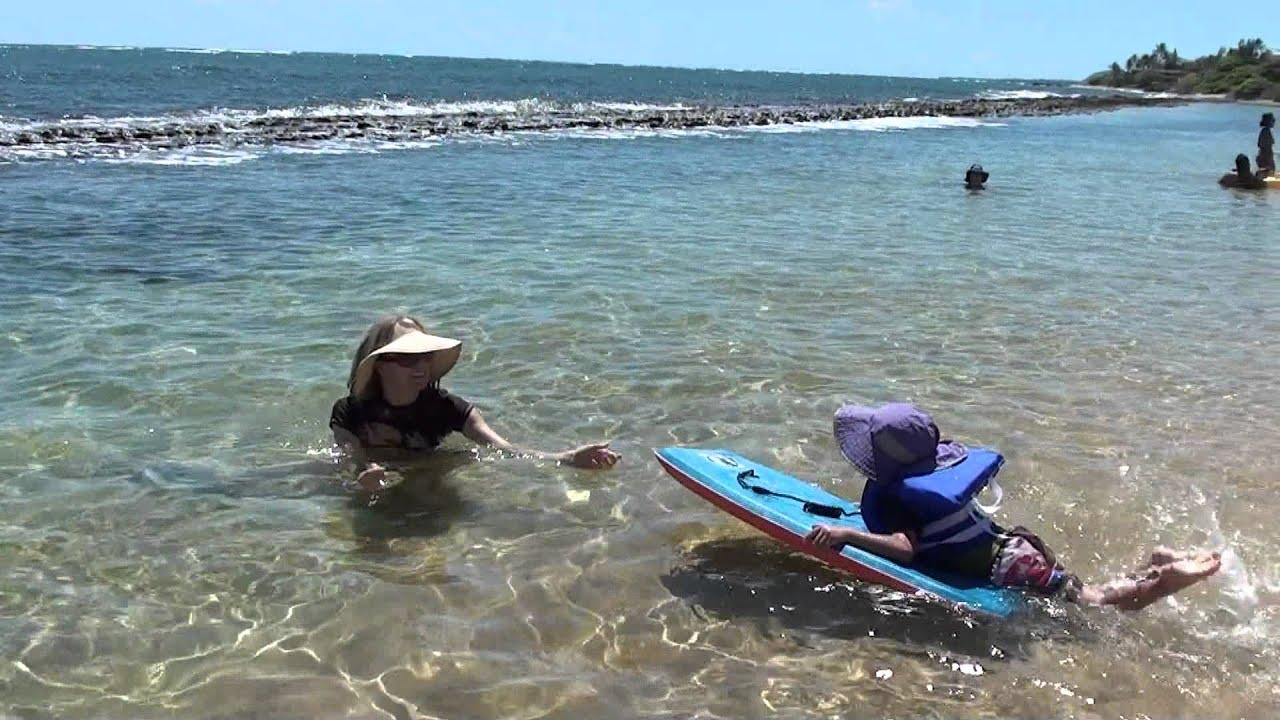 Little Man On A Boogie Board At Baby Beach Kapaa Kauai