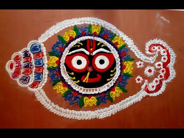 Jagannath Face with rangoli | Colourful Rangoli Designs Easy rangoli of lord jagannath