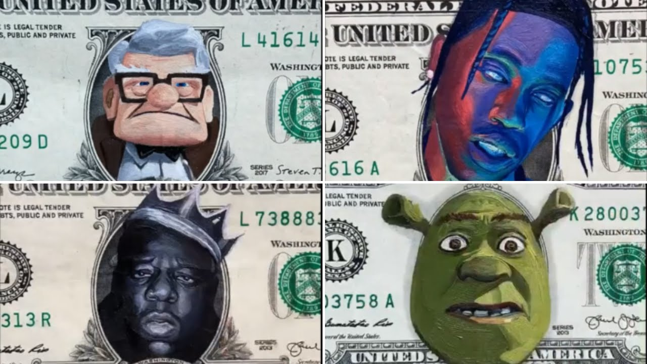 Painting Faces on Real Dollars - (DOLLAR ART CHALLENGE)