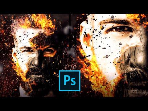 Обработка фотографий в Фотошопе. Эффект огня. Photoshop PSD