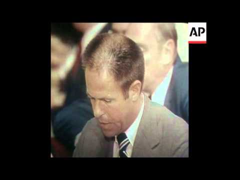 SYND 31-7-73 HALDEMAN TESTIFYING BEFORE SENATE WATERGATE COMMITTEE THAT HE HEARD THE TAPES