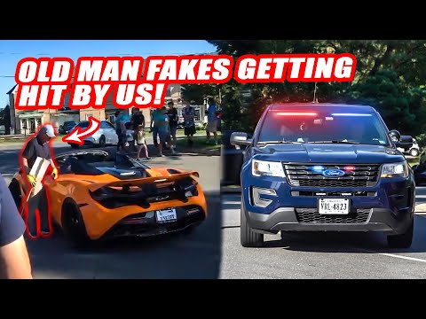 CORRUPT OLD MAN FAKES GETTING HIT BY OUR MCLAREN 720S! *MASSIVE ARGUMENT W/ POLICE*