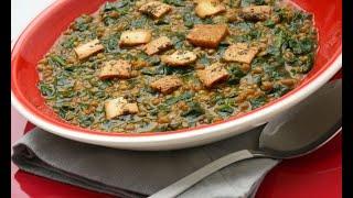 Receta de lentejas con espinacas y pan crujiente – Karlos Arguiñano