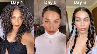 A week of Curly Hair! Wash day to day 6 routine | sleeping, exercising, refreshing | Jayme Jo