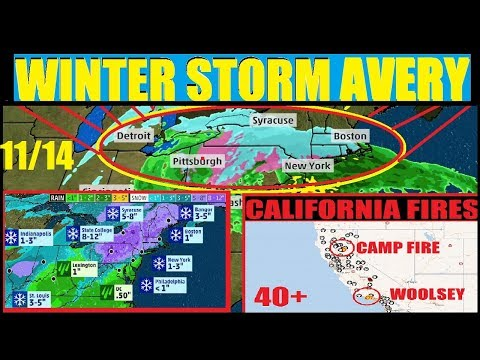 *WINTER STORM AVERY* 13 States UNDER WINTER WEATHER WARNINGS! CALIFORNIA FIRES #WOOSLEY #CAMPFIRE