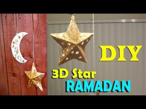 DIY | How to Make 3D Star Ramadan Decoration  | Kids Craft  step by step   زينة رمضان نجمة مجسمة