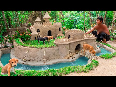 Abandoned Puppies Rescued And Build Castle Mud Dog House with Moat to Prevent Insect