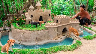 abandoned-puppies-rescued-and-build-castle-mud-dog-house-with-moat-to-prevent-insect