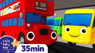 Ten Little Buses Song +More Nursery Rhymes and Kids Songs - ABCs and 123s | Little Baby Bum