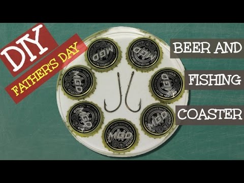 Beer And Fishing Coaster   Another Coaster Friday Craft Klatch Father's Day Gift Ideas Series