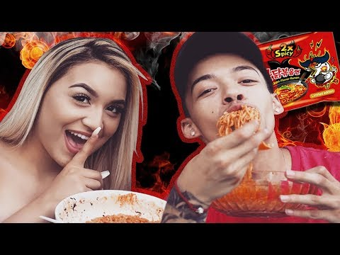 Extreme Spicy Noodle Challenge 🔥 (SHE CHEATED!)