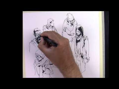 Urban Sketching Demo : People in the Metro