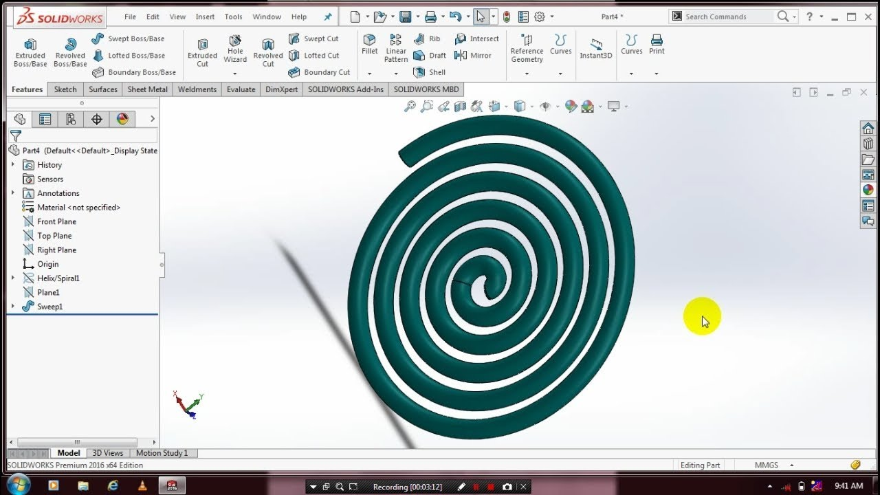 SPIRAL COIL IN SOLIDWORKS