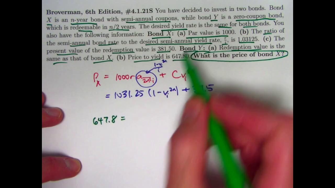 actuarial exam 2  fm prep  old actuary exam bond price