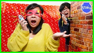 Christmas Box Fort Maze Walkie Talkie Challenge!!!