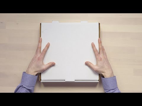 Unboxing a pizza