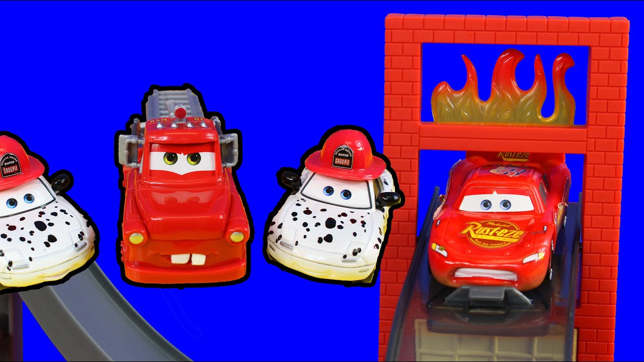 Disney Pixar Cars Toon Rescue Squad Mater Saves Lightning Mcqueen Ambulance Burning Building Fire Youtube
