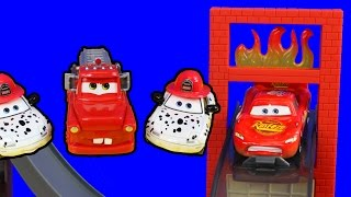 disney pixar cars toon rescue squad mater saves lightning mcqueen ambulance burning building fire