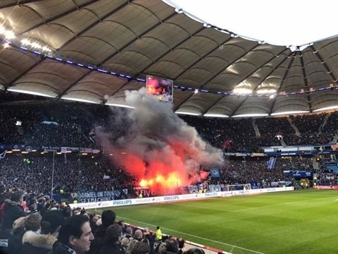 Hamburger SV - Hertha BSC Pyro 05.03.2017