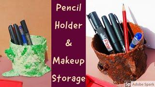 DIY Paper mache makeup organizer | papermashie Pen holder | Best out of Waste ideas