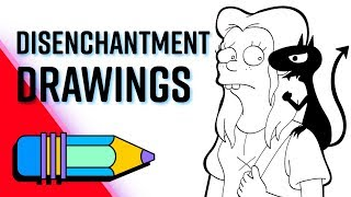 Draw Luci, Princess Bean and King Zog from Disenchantment   Speed Drawing
