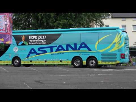 les Bus et vehicules des équipes et de la course du Tour de France 2017 à Mondorf 4ieme étape