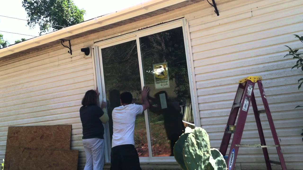 DIY How To Install Sliding Glass Door   YouTube