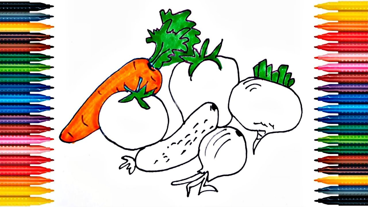 Drawing vegetables Learn How to Draw Vegetables Colors Picture ...