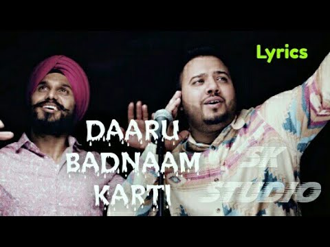 Daru Badnaam Ringtone Kamal Kahlon & Param Singh Lyrics Whatsapp Video By SK Studio