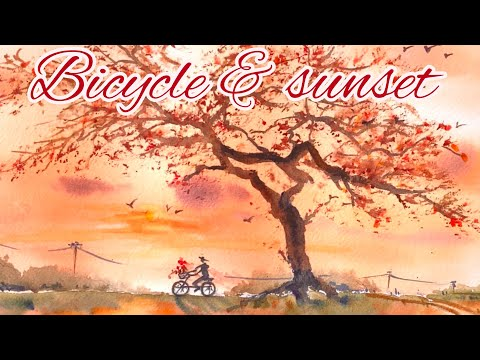 Watercolor Painting - Bicycle at Sunset-Childhood Memories-Use Sponge on Leaf-Tutorial Step by Step thumbnail