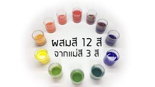วงจรสี ผสมสีทั้ง 12 สี จากแม่สี 3 สี วิชาศิลปะ