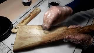 реставрация ружья, морение приклада иж 54