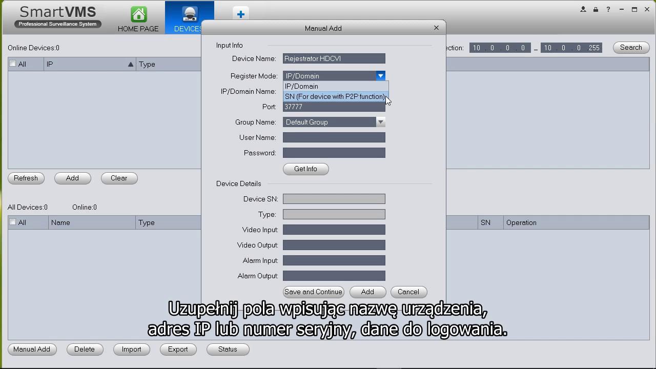 Smart VMS - konfiguracja podglądu zdalnego z rejestratora Protec HDCVI