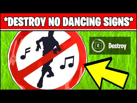 DESTROY NO DANCING SIGNS *ALL LOCATIONS* (Fortnite Season X Week 6 Challenges)