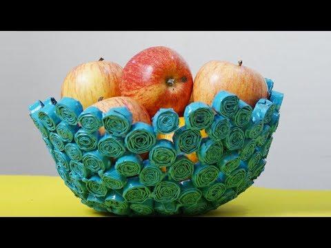 Amazing Newspaper Crafts - How To Make A Beautiful Paper Fruit Bowl - DIY Basket Making - #DIYCRAFTS