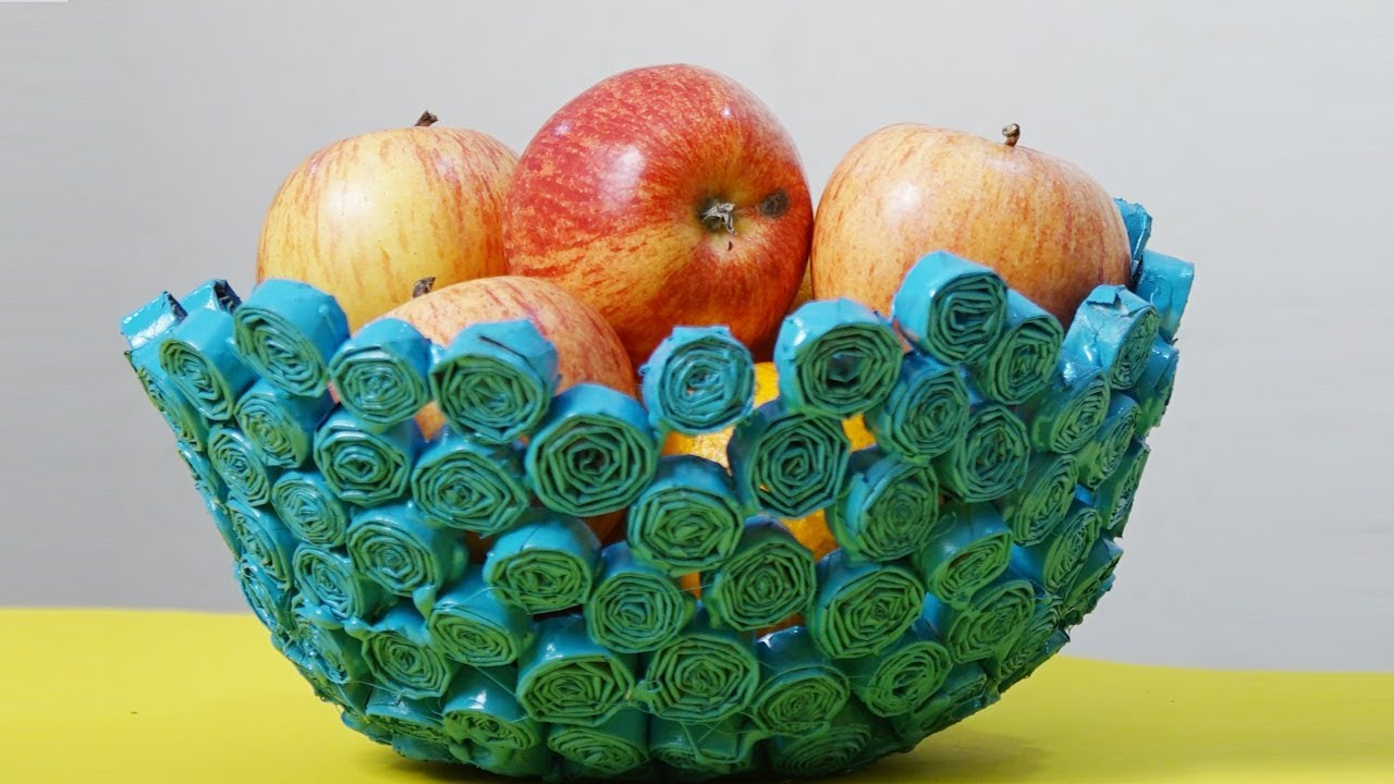 Amazing Newspaper Crafts - How To Make A Beautiful Paper Fruit Bowl ...