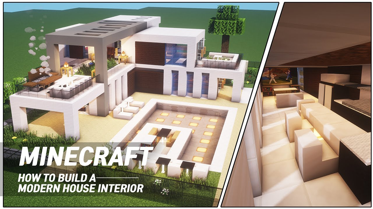 Minecraft Modern House Interior Tutorial How To Build In Minecraft 72 Youtube