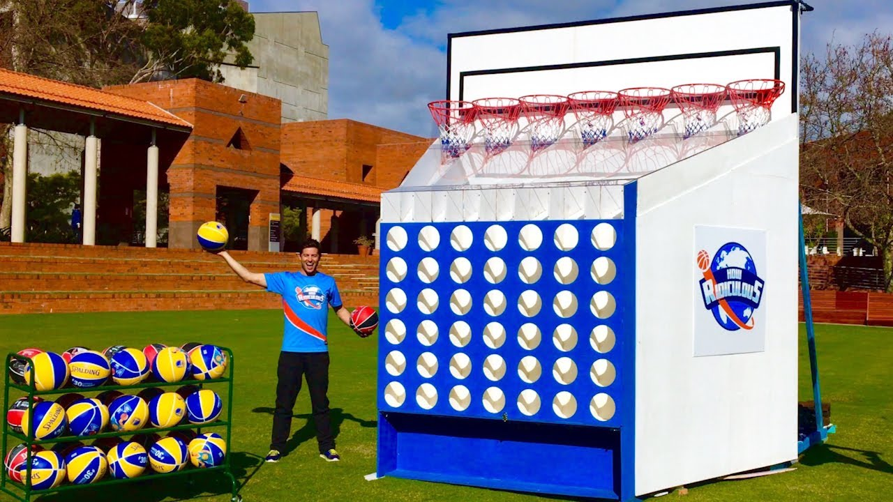 Epic giant basketball connect 4 game youtube for Homemade basketball court