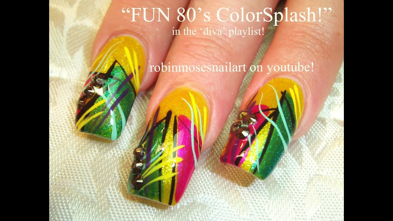Abstract Yellow Stripe Nail Art Design Tutorial Old School Long