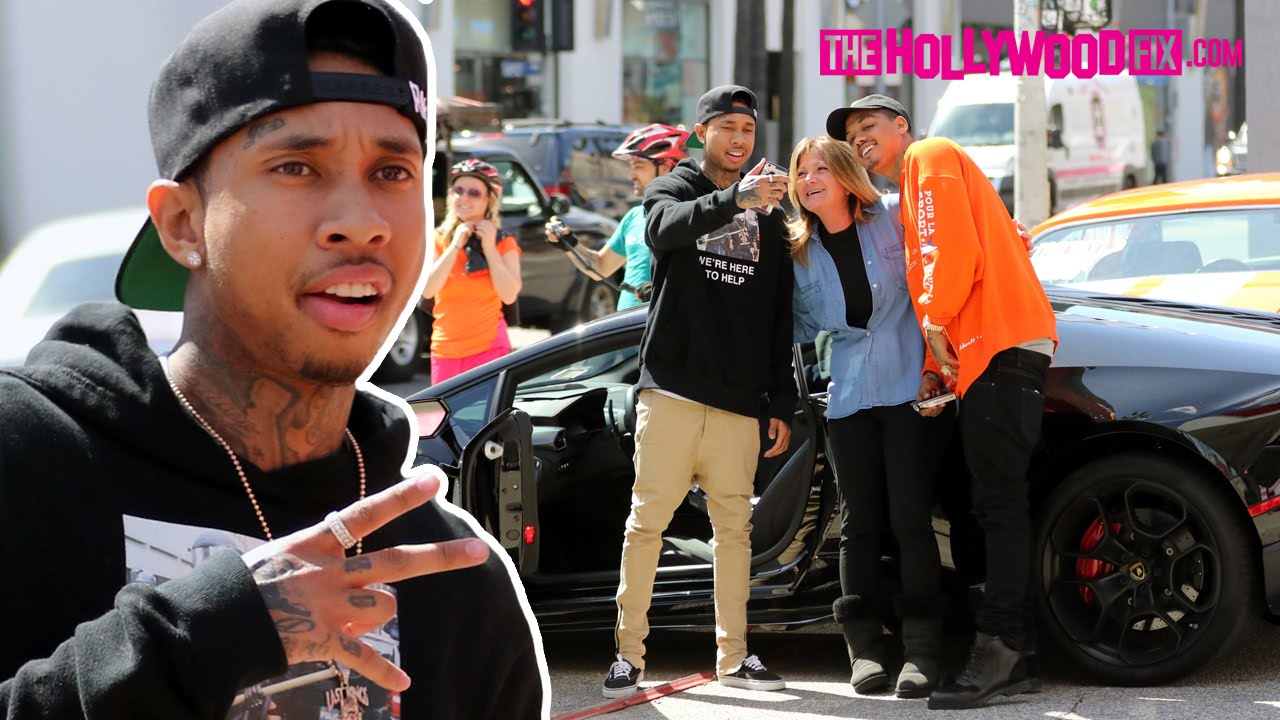 Tyga Stops By Last Kings Checks Out A Vintage Car On The Sunset Strip While Driving Lamborghini