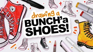Filling a Sketchbook Spread WITH SHOES! | Tips and Such, I guess