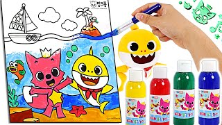 Baby Shark and PinkFong! Let's play color and drawing Pinkfong Paint ! | PinkyPopTOY