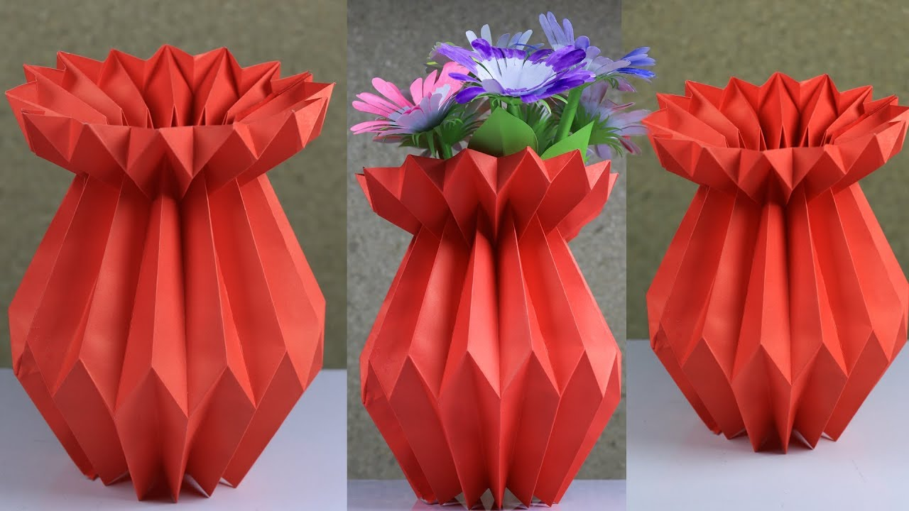 How To Make A Paper Flower Vase Very Easy And Simple Method
