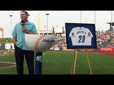 KC@BOS: Omaha Storm Chasers retire Jirshele's number