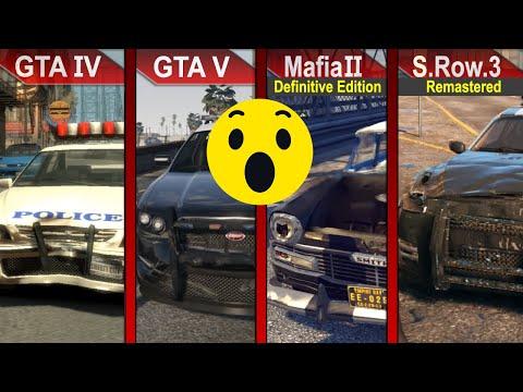 THE BIG COMPARISON | GTA IV vs. GTA V vs. Mafia II Definitive Edition vs. Saints Row 3 Remastered |
