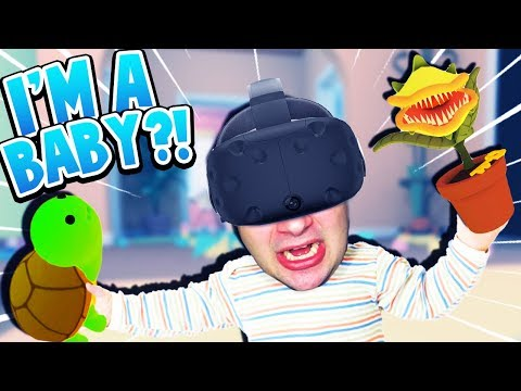 I'M A BABY! CAN I FEED MY PET TURTLE TO A KILLER PLANT?! | Baby Hands VR Gameplay (HTC Vive)