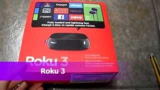 Unboxing Roku 3 Streaming media player 1080P HD HDTV netflix channels hulu vimeo crackle facebook tv