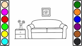 How to Draw Living Room Coloring Pages for Kids to Learn Art Colors with Baby