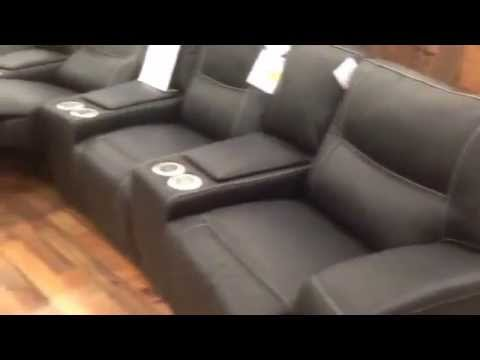 Natuzzi Home Cinema Seating Curve Sofas Black Leather All