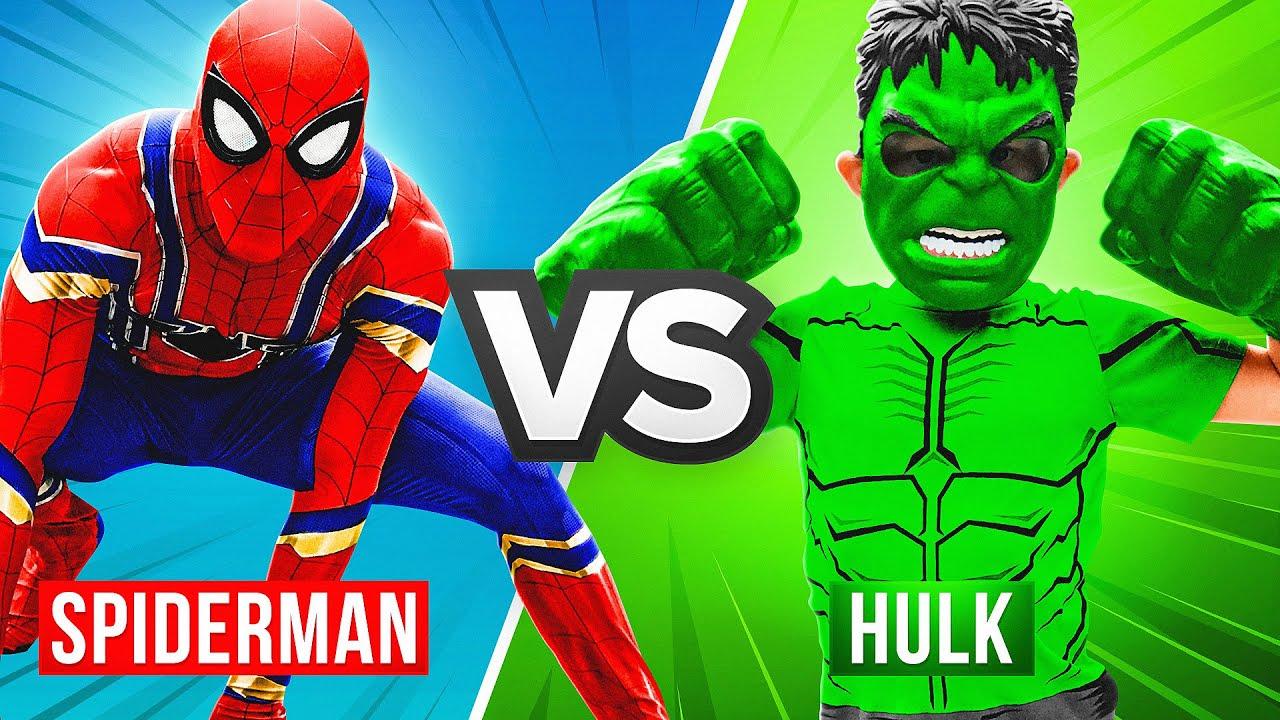 Hulk VS Spider-Man!! Marvel Avengers SuperHero Showdown!!